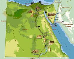Карта Египта с достопримечательностями