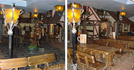 Внутренний дворик ресторана Beer House со своими домиками и улочками.