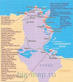 Карта Туниса с отелями