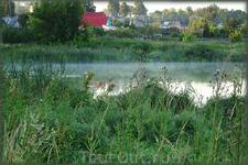 Утро. Рыбаки на озере Спасском.