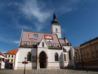 Собор Св. Марка. Одноименная площадь - политическое сердце Хорватии, справа - здание парламента, слева - президентский дворец