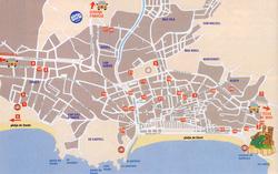 Карта Ллорет де Мар с пляжами