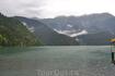 озеро Рица, очень редкое явление - в июне снег в горах