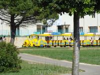 Туристический автопоезд (закамуфлированный трактор) с вагончиками, курсирует от центра Умага до самого дальнего отеля на побережье, почти до Савудрии. ...