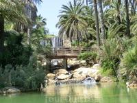 Через искусственный водопад перекинут деревянный мостик с аккуратными перилами. Мост соединяет два каменистых берега, наполненных яркой зеленью растений ...