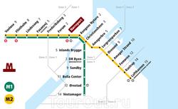 Карта метрополитена Копенгагена