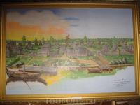 Картина с видом на древний деревянный Белозерск (Белоозеро).