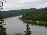 Вид на наш лагерь со скалы Монах, Югыд-Ва