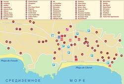 Карта Ллорет де Мар с отелями