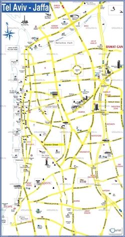 Карта Тель Авива с достопримечательностями