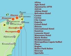 Карта Родоса с отелями