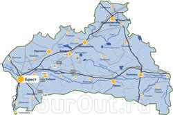 Карта Брестской области с достопримечательностями  отели, места ... 40bc06b88cd
