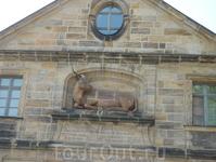 Здание Старой Скотобойни (1741-42). На фронтоне довольно массивное изображение быка. Сегодня здесь находится библиотека Бамберского университета.