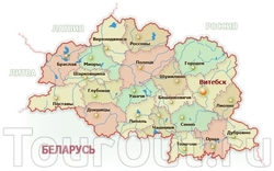 Основные города Витебской области на карте