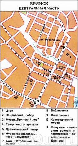 Карта Брянска с достопримечательностями