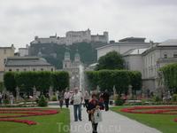 Вид на Кафедральный собор  и крепость Хоензальцбург с другого берега - из парка Франца иосифа