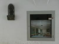 Линц.Под аркой установлен бюст  Моцарта и под стеклом макет  квартиры.