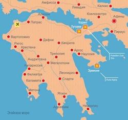 Карта Пелопоннеса на русском