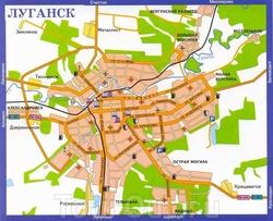 Карта Луганска с достопримечательностями